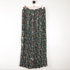 Vintage | Floral Print Maxi Skirt Pleated Green